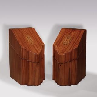 Pair of sheraton period faded mahogany Cutlery Boxes.