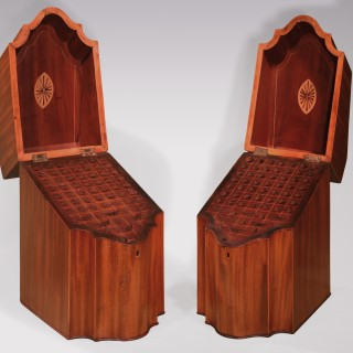Pair of sheraton period faded mahogany Cutlery Boxes.
