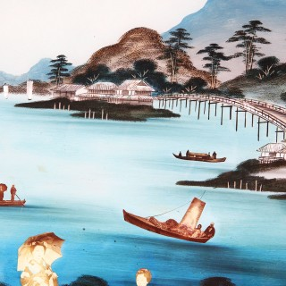 An unusual early 20th century chinese export glass painting
