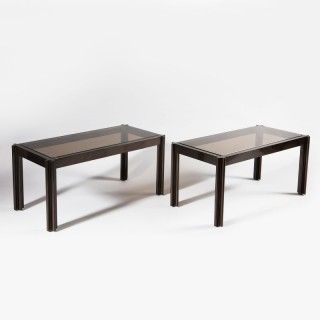 A pair of George Ciancimino bronze patinated rectangular low tables