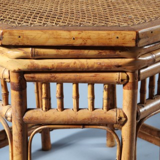 An Art Deco Chinese export hexagonal bamboo occasional table
