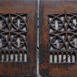Pair of Pierced Gothic Oak Tracery Panels