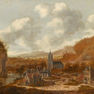 A Town in a Hilly Landscape with a River and Several Figures