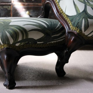 A Pair of Upholstered Victorian Mahogany Footstools c.1890