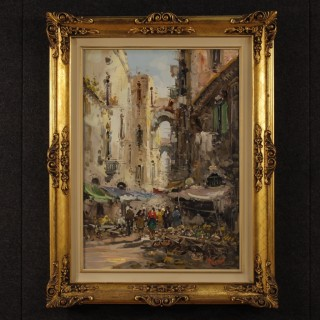 Italian Signed Painting Oil On Canvas Neapolitan Market From 20th Century