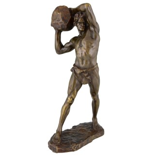 Antique Bronze Sculpture Strong Man, Male Nude With Stone
