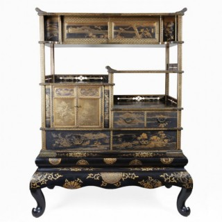 JAPANESE GOLD LACQUER MEIJI SHODANA CABINET ON STAND