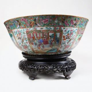 MONUMENTAL RARE CANTON PORCELAIN PUNCH BOWL