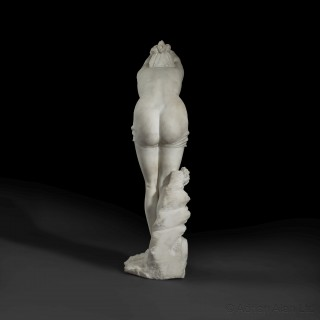 'La Tuffolina' - An Important White Marble Group of A Diving Girl By Odoarda Tabacchi
