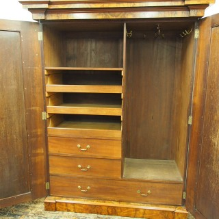 Mid Victorian Burr Walnut 2 Door Wardrobe