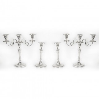 Antique Set Comprising Pair Candelabra and a Pair Candlesticks 19th C