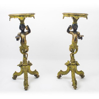 Antique Pair Venetian Gilded & Painted Blackamoor Pedestals Tables 19th C