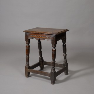 17th century carved oak joint stool