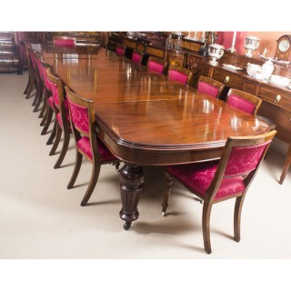 Antique D-End Mahogany Dining Table and 14 Upholstered Back Chairs 19th C