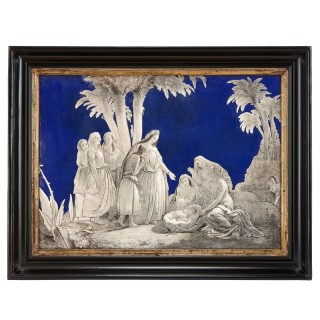 19th Century French enamel plaque depicting 'The Finding of Moses'