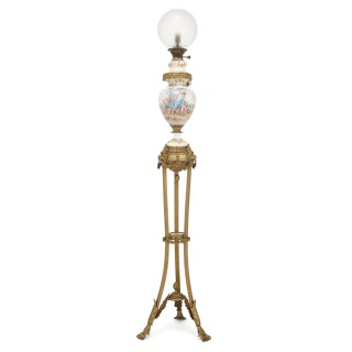 Antique gilt bronze and Sevres style porcelain floor standing lamp