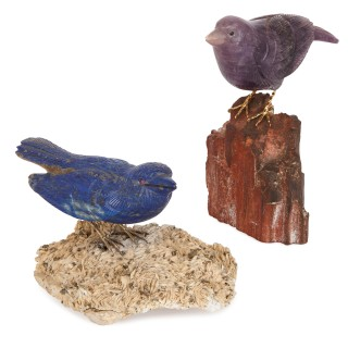 Two gold and semi-precious stone bird models