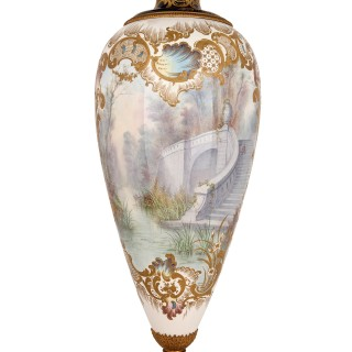 Very large antique French Sevres style porcelain vase