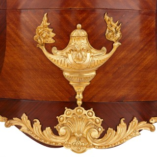 French Rococo style gilt bronze and walnut commode