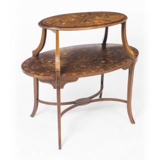 Antique English Marquetry Etagere Occasional Coffee Table 19th C