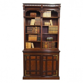 Arts and Crafts Mahogany Open Bookcase by W. Walker and Sons