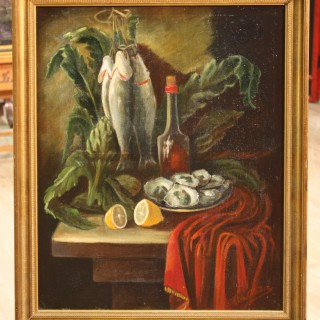 Spanish Still Life Signed Painting Oil On Canvas From 20th Century