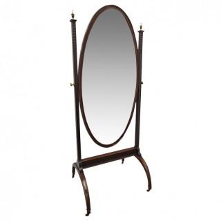 Georgian Style Mahogany Cheval Mirror