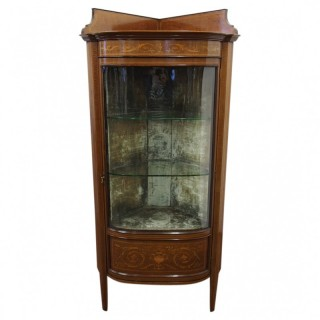 Sheraton Style Mahogany and Inlaid Bow Front Display Cabinet