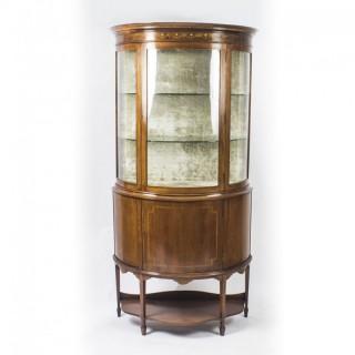 Antique Edwardian Half Moon Glazed Inlaid Mahogany Display Cabinet C1900