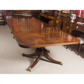 Antique Flame Mahogany Twin Pillar Regency Style Dining Table Circa1900