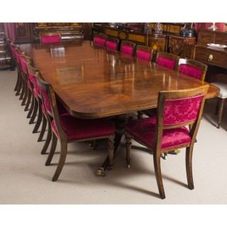 Antique Twin Pillar Regency Style Dining Table & 14 Chairs C1900
