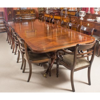Antique Twin Base Regency Style Dining Table C1900 With 14 Bespoke Dining Chairs