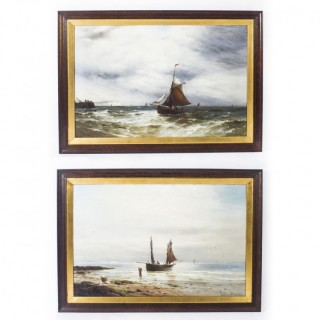 Antique Pair Oil on Canvas Seascape Paintings Gustave De Bréanski 19th Century