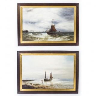 Antique Pair Oil on Canvas Seascape Paintings Gustave De Bréanski 19th Century