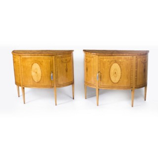 Pair Adam Revival Marquetry Inlaid Satinwood Side Cabinets 20thC