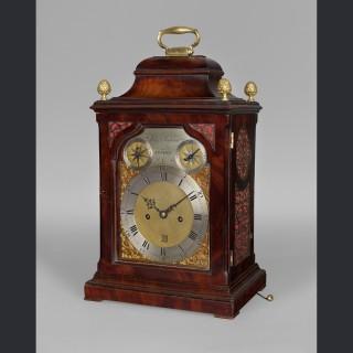 """A fine George III bracket clock in a """"bell top"""" case by JOHN JACKSON, London c1770"""