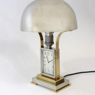 Chrome Art Deco Table Lamp with Clock