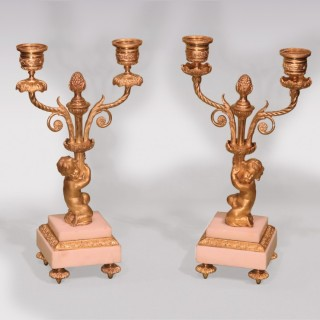 A Pair of mid 19th Century ormolu 2-light Candelabra