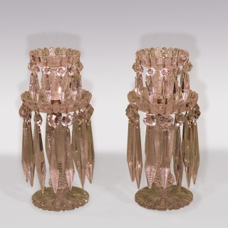 A Pair of 19th Century glass lustre Candlesticks