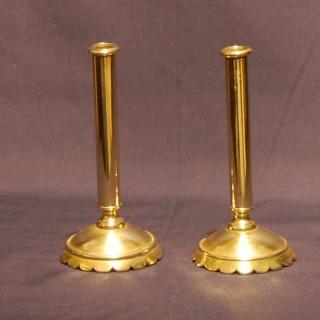 A rare pair of George I period Brass Taper Sticks