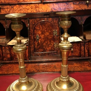 Pair of early 19th. century French Gilt Brass fancy candlesticks.