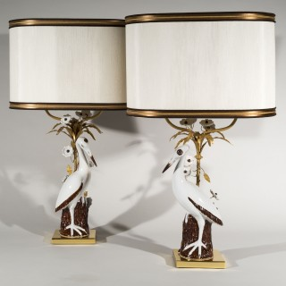 Large Pair of Chinoiserie Porcelain Crane Lamps by Mangani