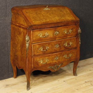 French Inlaid Bureau In Wood In Louis XV Style With Gilt Bronzes From 20th Century