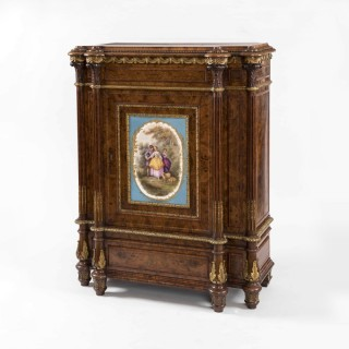 A Walnut Drawing Room Cabinet of the Mid-19th Century