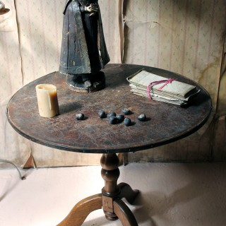 A Mid-19thC French Leather & Oak Vendange Table c.1850-60