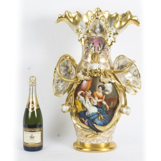 Antique Large Hand Painted Paris Porcelain Vase 19th C