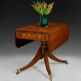 Regency period mahogany and ebony line inlaid Pembroke table