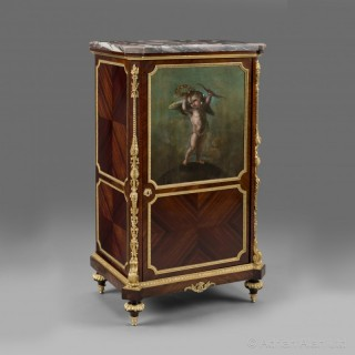A Fine Louis XVI Style Gilt-Bronze Mounted Cabinet With A Painted Panel