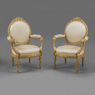A Fine Pair of Louis XVI Style Fauteuils à la Reine