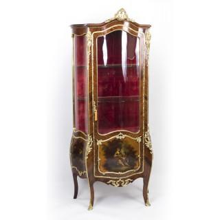 Antique French Kingwood Vernis Martin Display Cabinet c.1880